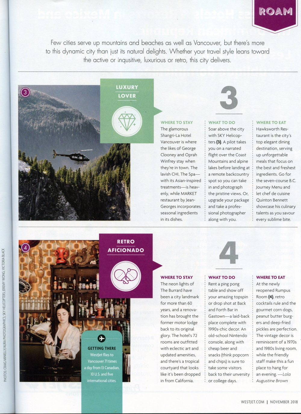WestJet Magazine, Bottom Image - November 2018
