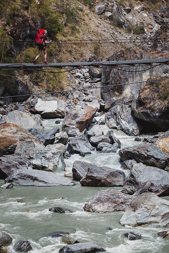 annapurna circuit trekking   suspension bridge   marshyangdi valley   besisahar to chame   part 1   collage 2   laidback trip