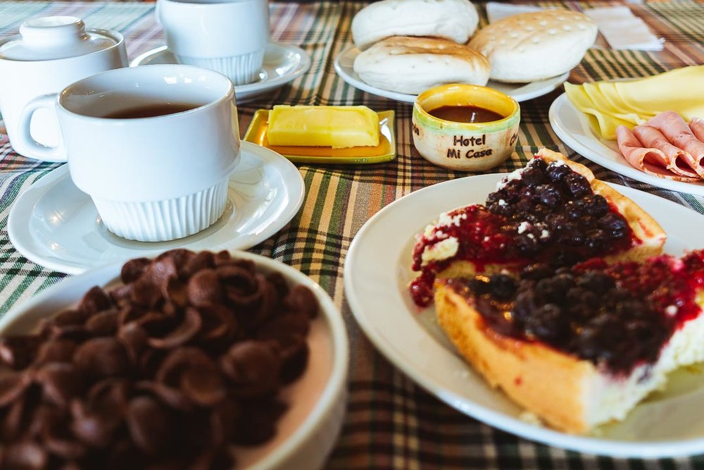 Breakfast is nice and simple in Hotel Mi Casa and there is a homemade cake every day