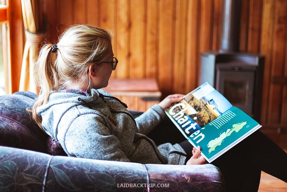 Reading a book after a day-long hike in a warm room with fireplace was amazing relaxation