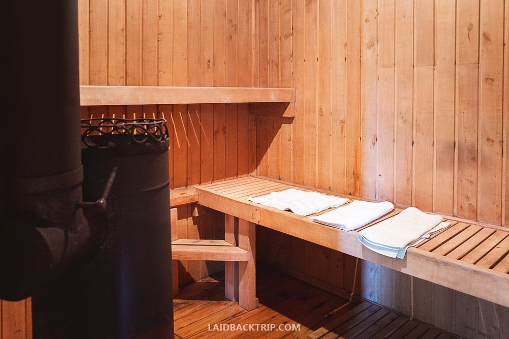 Sauna and the hot tub will make you feel amazing after long day adventures in the Pumalin Nationa Park