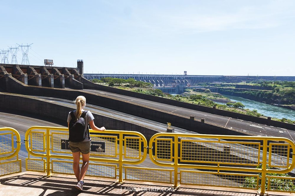 Itaipu Dam lies between Paraguay and Brazil and you can get there from both countries.