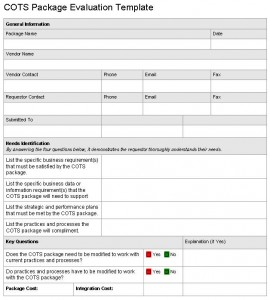 COTS Product Evaluation Template