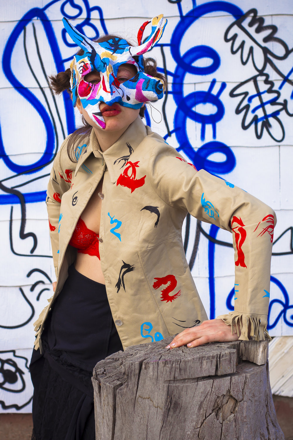 papier mâchée mask and hand painted leather jacket (2017)