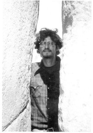 THE ARTIST AT 25, BETWEEN THE 'WALLS' OF  STONEHENGE, WHEN YOU COULD STILL WALK UP AND TOUCH THE STONES