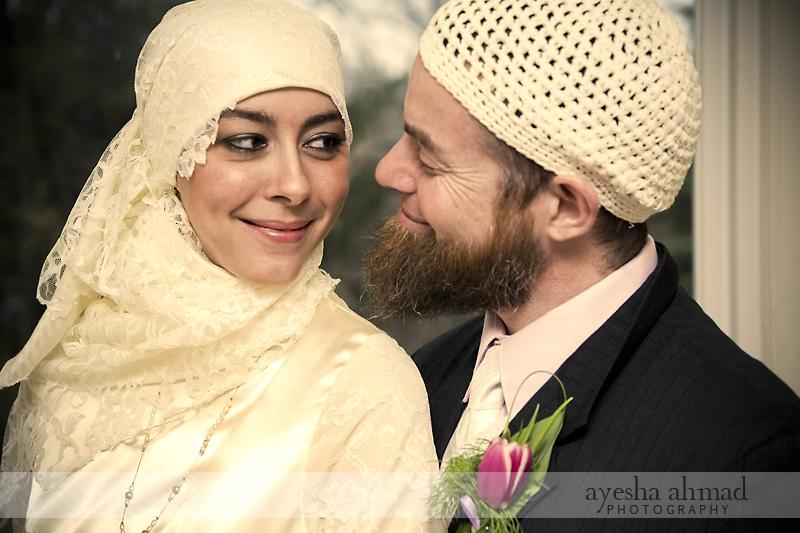 hijabi muslim bride and groom