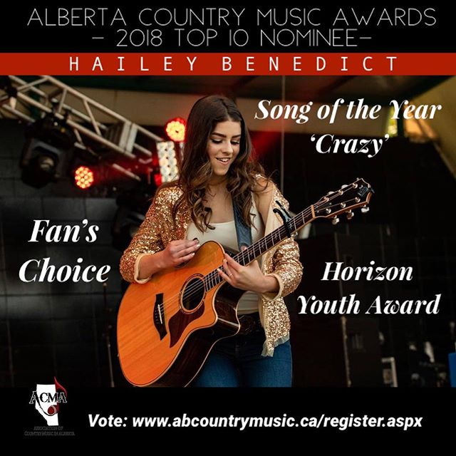 "CRAZY news!! I just found out I made the TOP 10 ACMA Award Nominees for Song of the Year for ""Crazy"", as well as nominations for the Horizon Youth Award and Fan's Choice - a category voted by YOU!! 💗 Thank you so much to everyone who took the time to vote in the first round. I'm so grateful to be included in the ACMA family and among so many talented artists and friends. I would love if you could check out all these incredible nominees and VOTE again for your final Top 5!! If you're a fan and want to help vote ($5 to become an ACMA fan member), please sign up- link in bio!) ! It would mean so much if you guys could check it out! Voting continues until Nov. 16th! 💖 📸: @qualityresults  @acma_music @taylorguitars • • • • • #acma #alberta #edmonton #yeg #singer #songwriter #musician #country #countrysinger #countrymusic #guitar #acousticguitar #taylorguitars #pop #popmusic #vote #linkinbio #instagram #instagood #music #song #love #share"