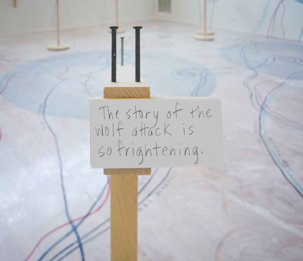 My Ántonia: Lost and Found  (2012)   Installation   50 × 50 ft.  Painted floor and wood furniture.  Hoffman Gallery, Oregon College of Art and Craft, Portland, OR