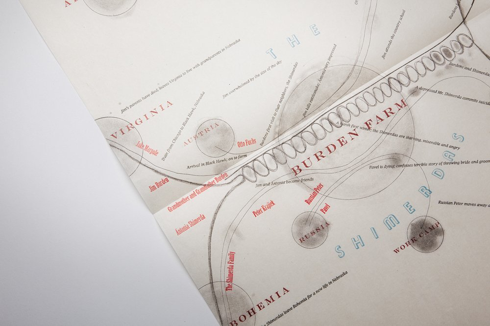 Mining My Ántonia  (2012)   Map detail.  18 × 24 in.  Copperplate etching and letterpress printed text on Japanese paper.   Co-published by Hartford Art College and Triangular Press