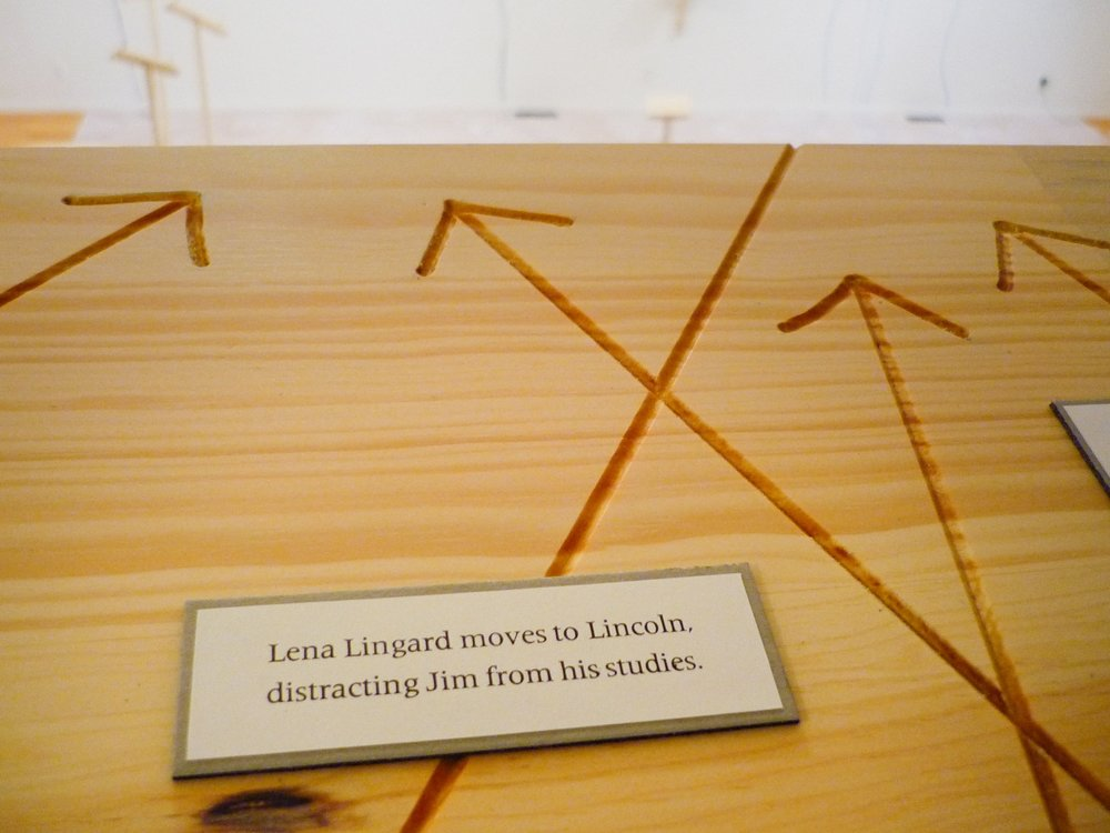 My Ántonia: Lost and Found  (2012)   Installation   50 × 50 ft.  Constructed wood furniture and handmade text.  Hoffman Gallery, Oregon College of Art and Craft, Portland, OR