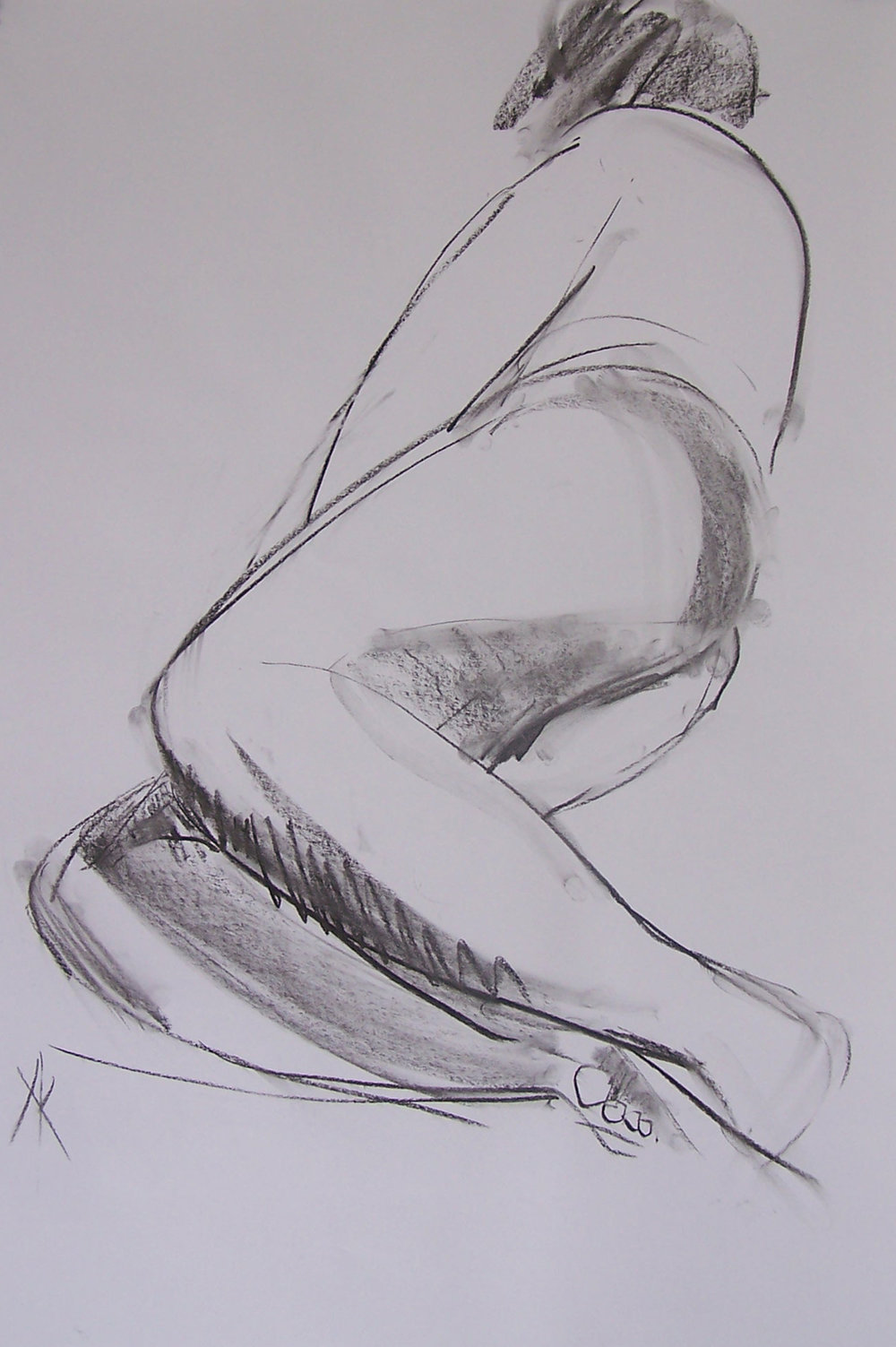 TITLE:  Less is more  MEDIUM: Charcoal, ink on paper DIMENSIONS: H102 x W77cm  FRAMED