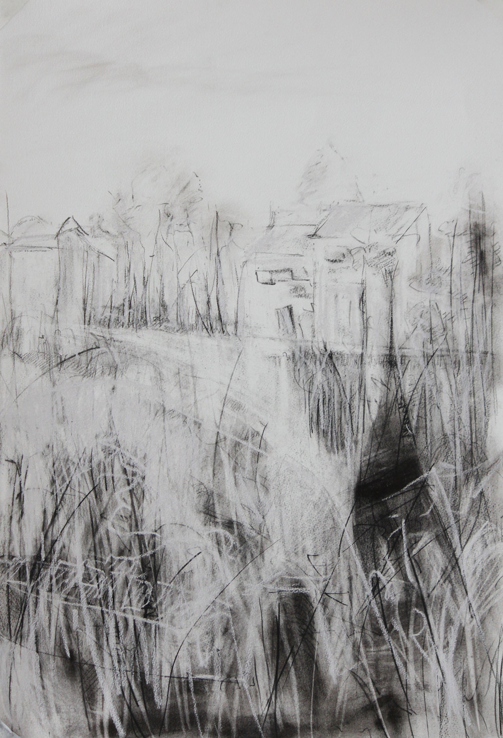 TITLE:  Bleak edge of winter 2  MEDIUM: Charcoal, graphite, on paper DIMENSIONS: H76 x W53cm