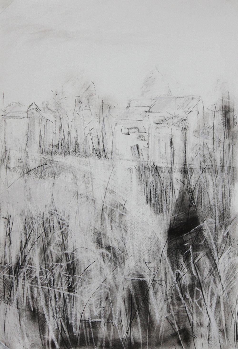 TITLE: Bleak edge of winter 2  MEDIUM:Charcoal, graphite, on paper DIMENSIONS: H76 x W53cm