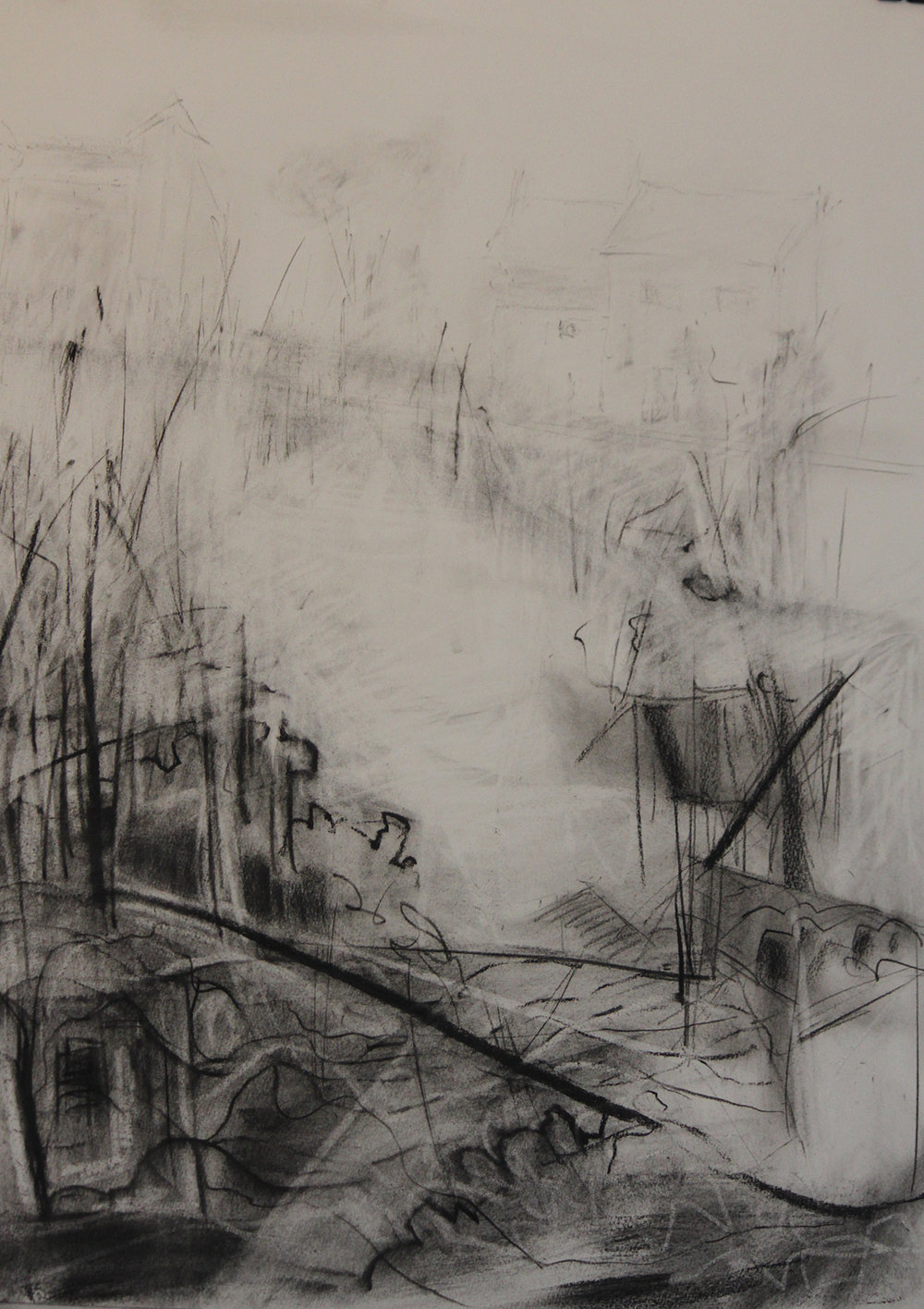 TITLE: Bleak edge of winter 3  MEDIUM:Charcoal, graphite on paper DIMENSIONS: H76 x W53cm