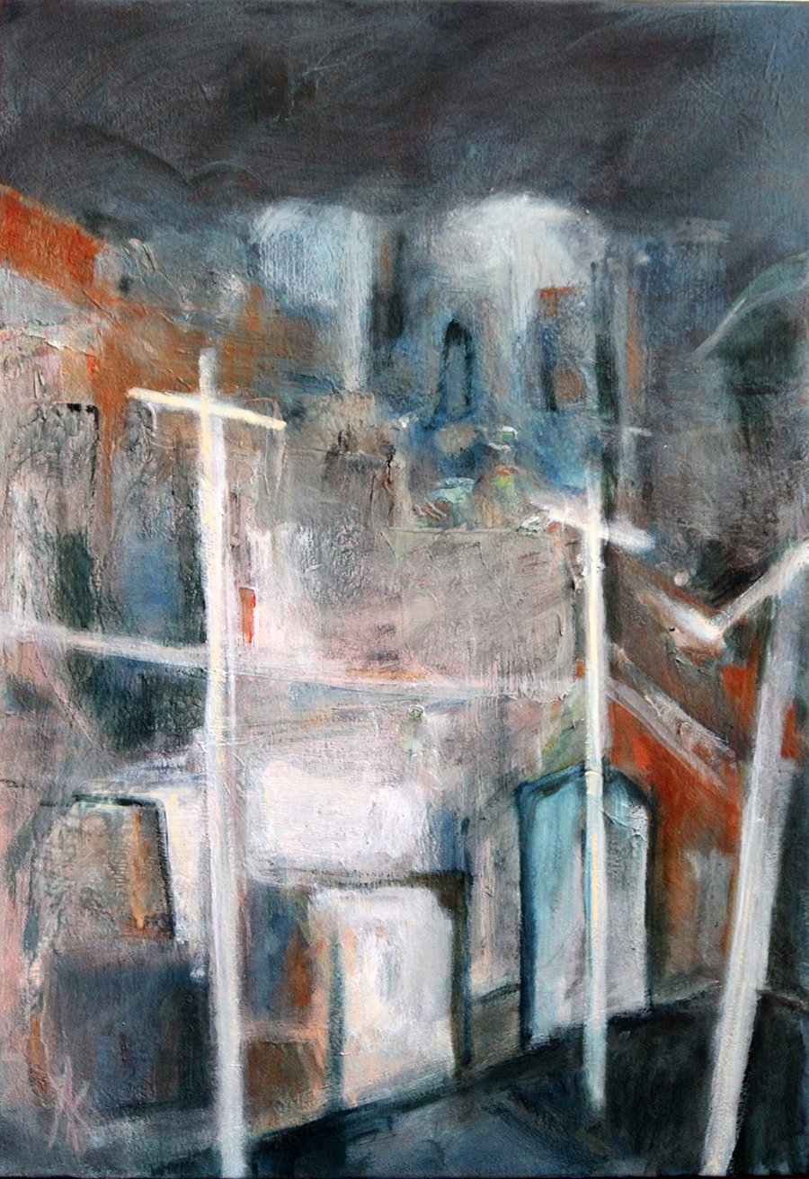 TITLE:  Jewish Ghetto: Krakow  MEDIUM: Oil on canvas DIMENSIONS: H91 x W61cm