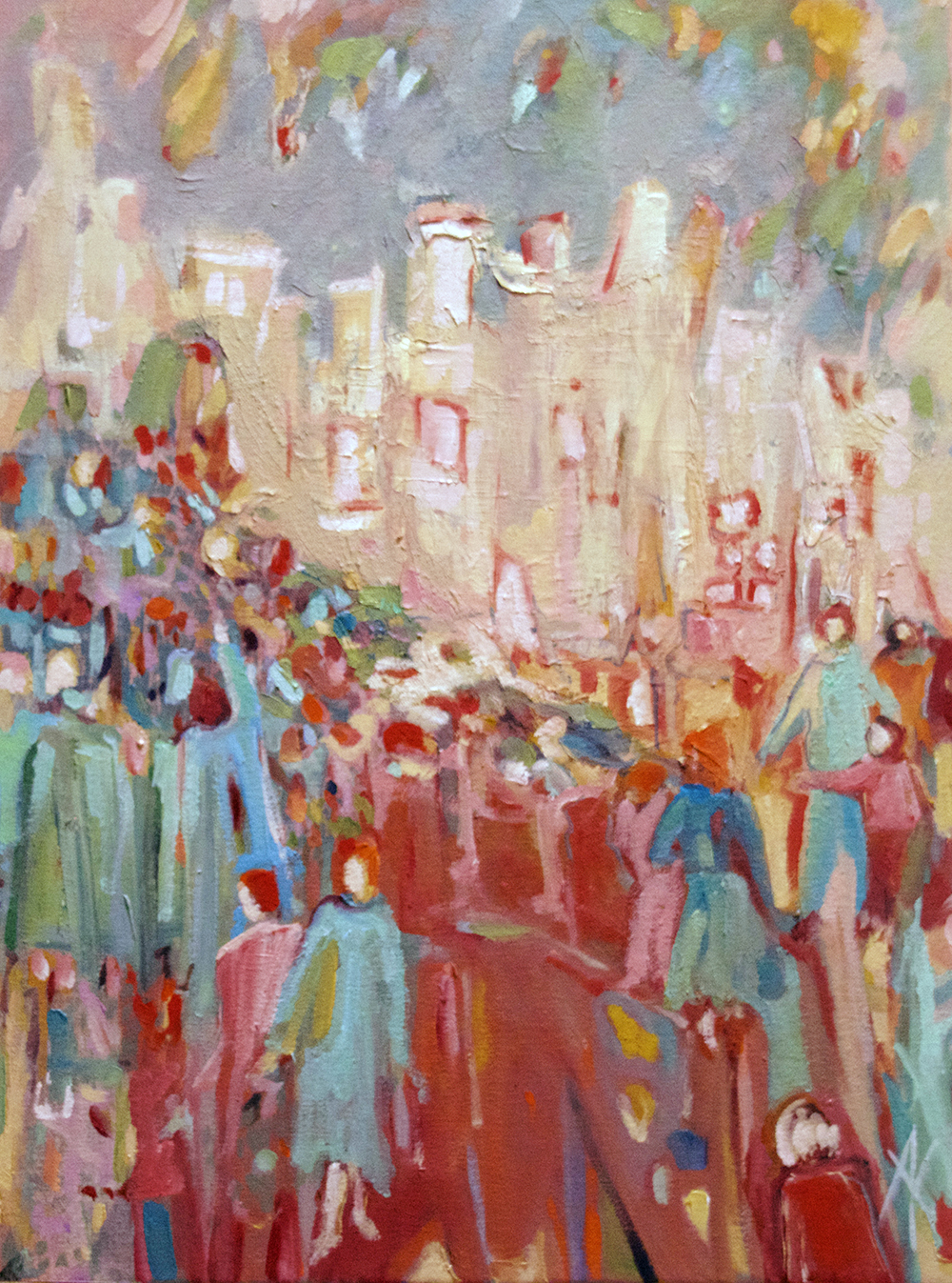 TITLE:  Market day  MEDIUM: Oil and encaustic on canvas DIMENSIONS: H50 x W38cm