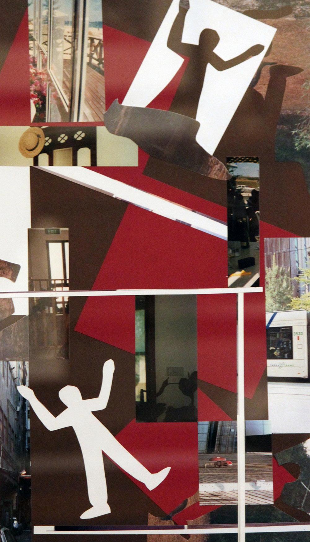 TITLE: Descending  MEDIUM: Collage on paper DIMENSIONS: H60 x W41cm  FRAMED