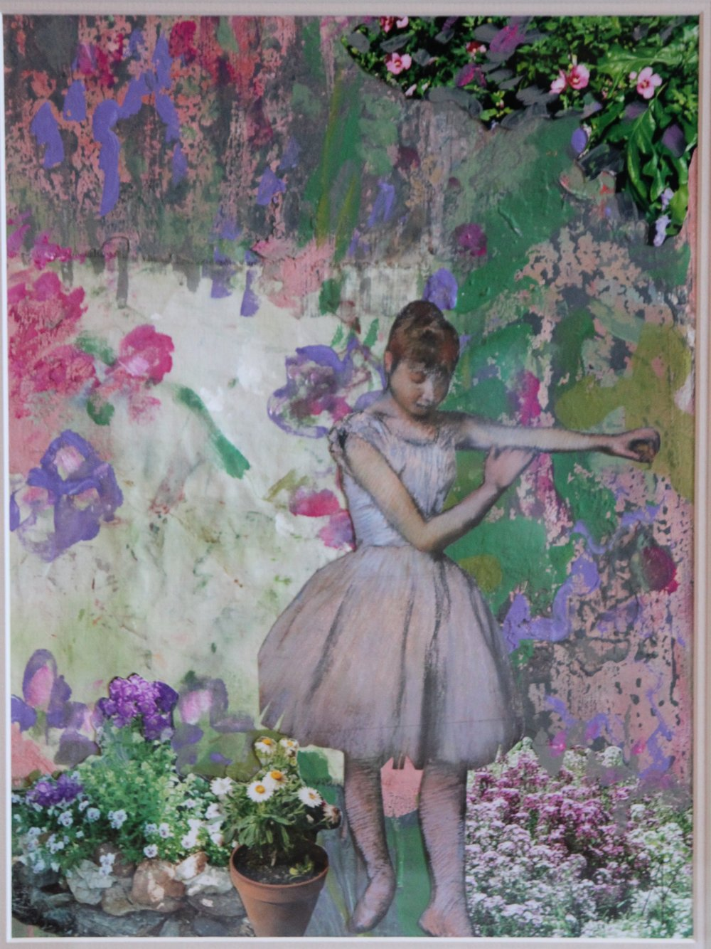 TITLE:  Degas's garden 2  MEDIUM: Acrylic paint and collage on paper DIMENSIONS: H59 x W49cm  FRAMED