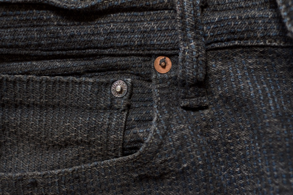 Silver Rivet on Black Century Denim