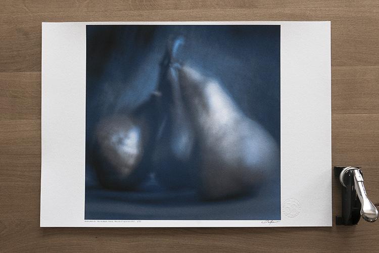 CR395 -  Italian pears #1  - Tirage 420 x 594 mm sur papier coton, encré pigmentaire 400 x 400 mm. Les tirages des œuvres de Fao Wardson sont limités à 53 exemplaires. Pour tout renseignement merci d'utiliser le  formulaire de  contact  en page ABOUT .