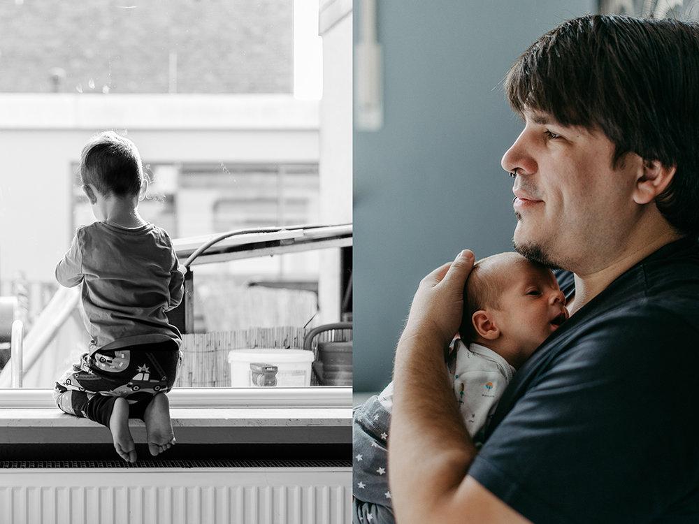 Familienfotos zu viert zu Hause
