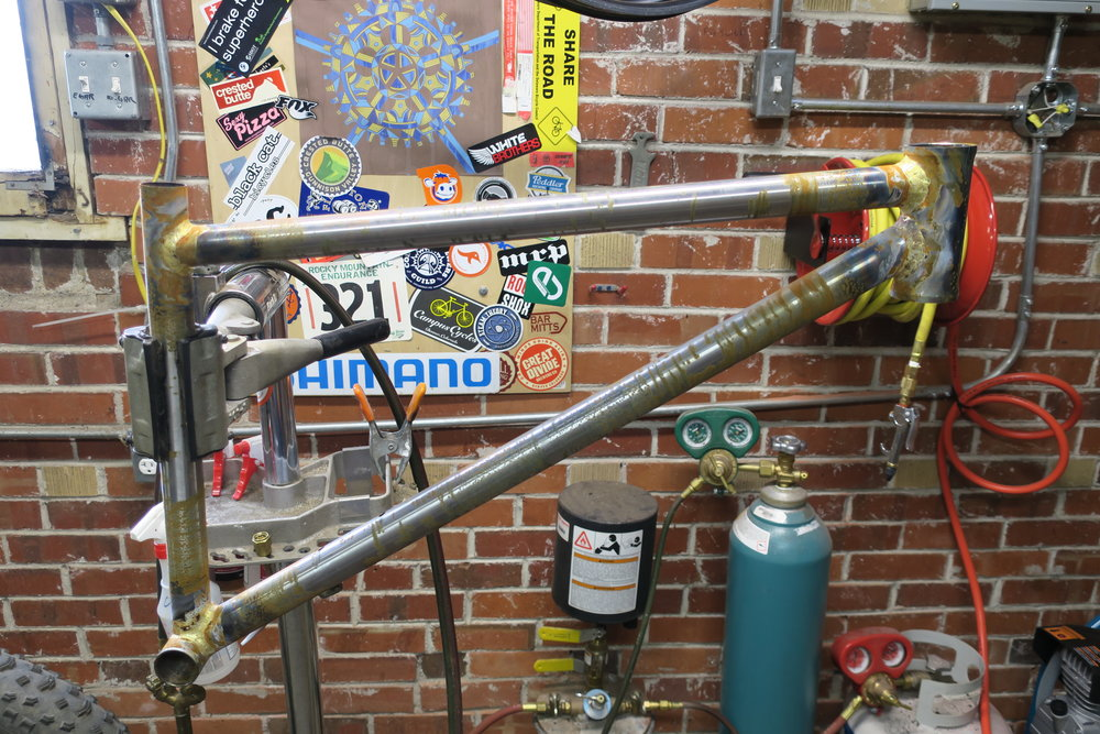 Fillet-brazed front triangle with unfinished brazes