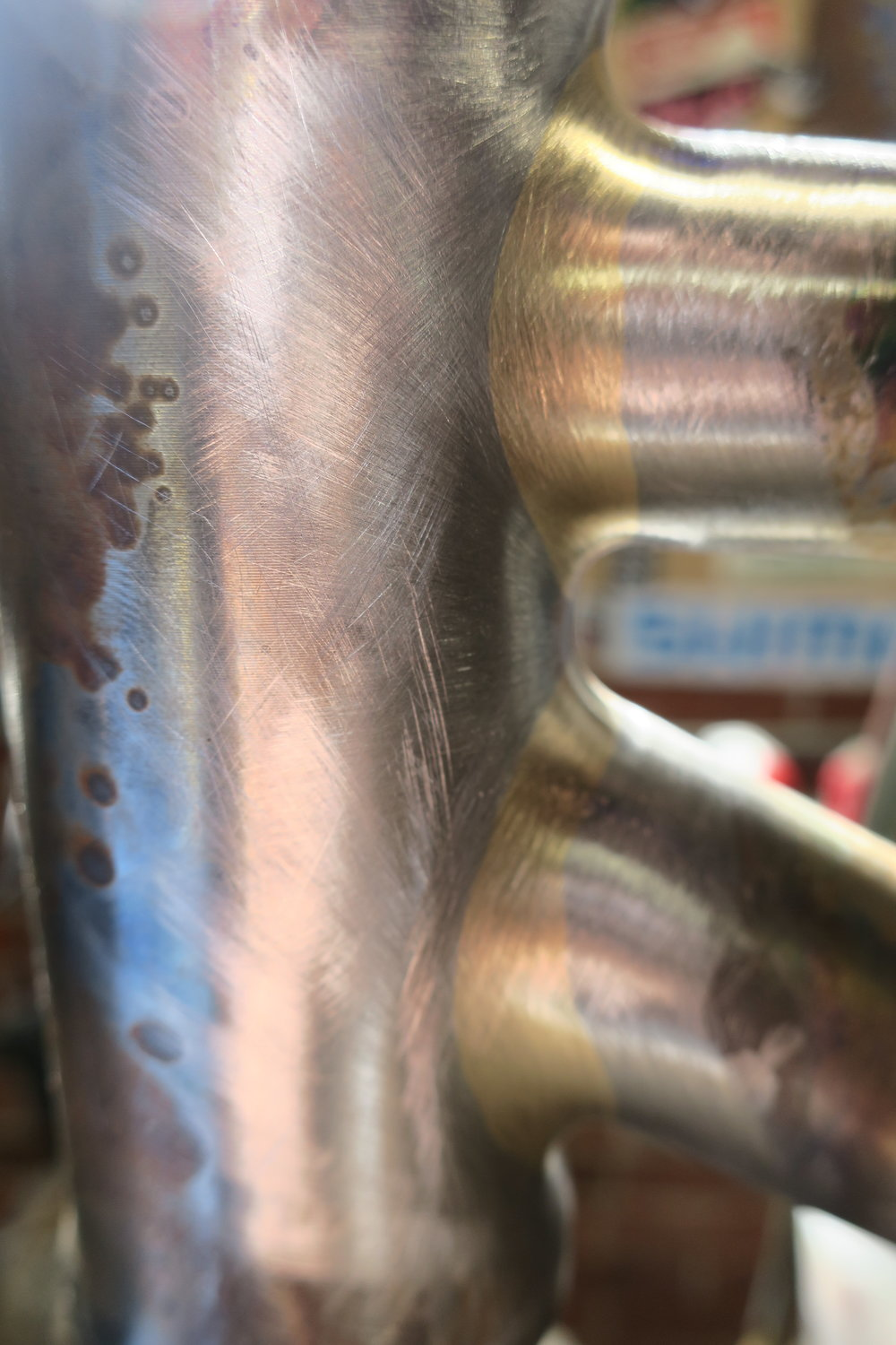 Nearly finished head tube brazes