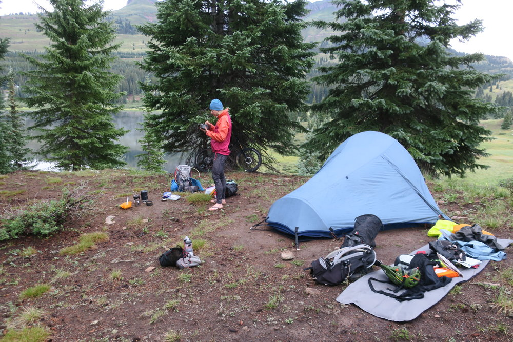 Most of my gear is in full view here at breakfast time (Beth's chowing down) just south of Little Molas Lake