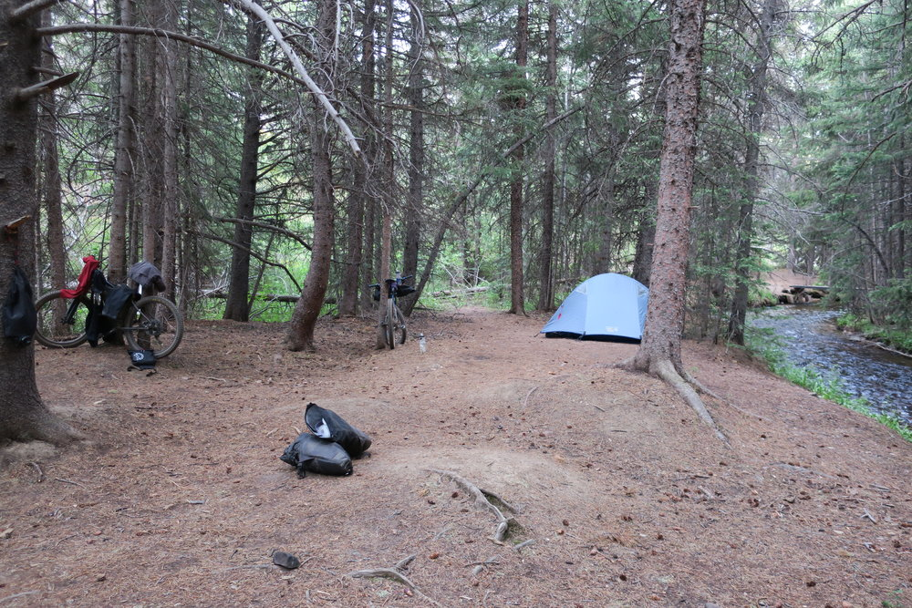 Sweet Jefferson Creek campsite a few miles after Kenosha Pass