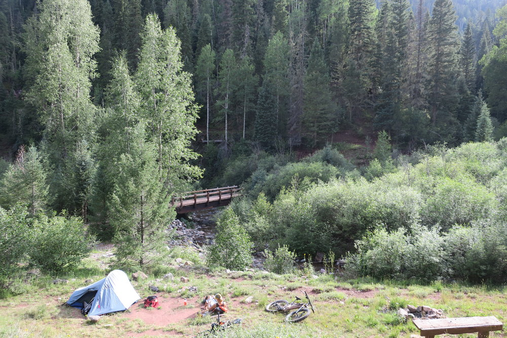 Our final campsite at the Junction Creek crossing before Durango (about 13 miles from the finish)