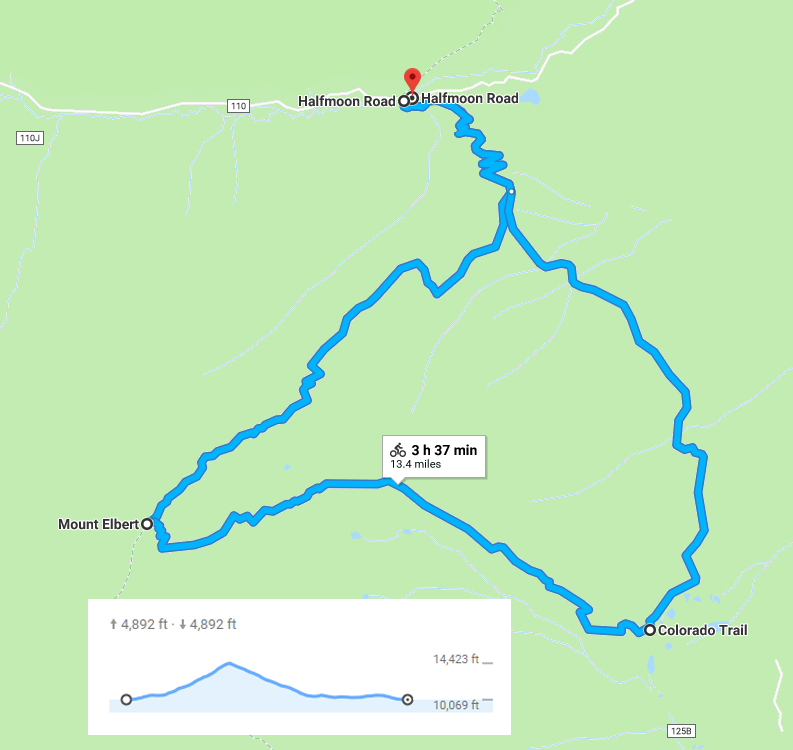 This is the route I took. I went up the Northeast Ridge and down the East Ridge, returning via the Colorado Trail. For maximum riding, I'd recommend doing the out-and-back shown in the map below.
