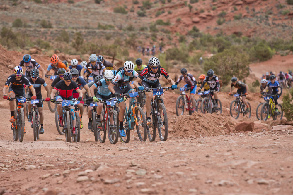 Josiah Middaugh led the start of Stage 3 which took part on the Mag 7 trail system just outside Moab.