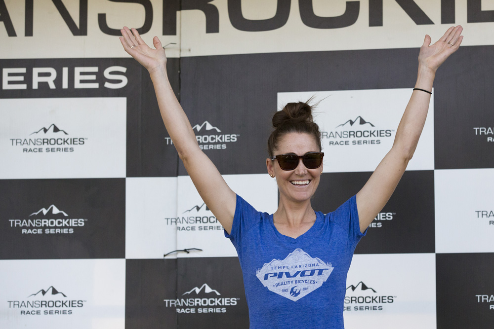 Sparky Moir Sears (Pivot) won the Open Women's overall title at 2018 Moab Rocks.