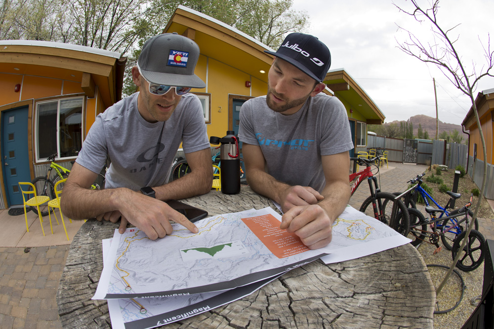 Canadian pro-riders Geoff Kabush and Evan Guthrie rented a tiny house in Moab and got down there early to check out the course.
