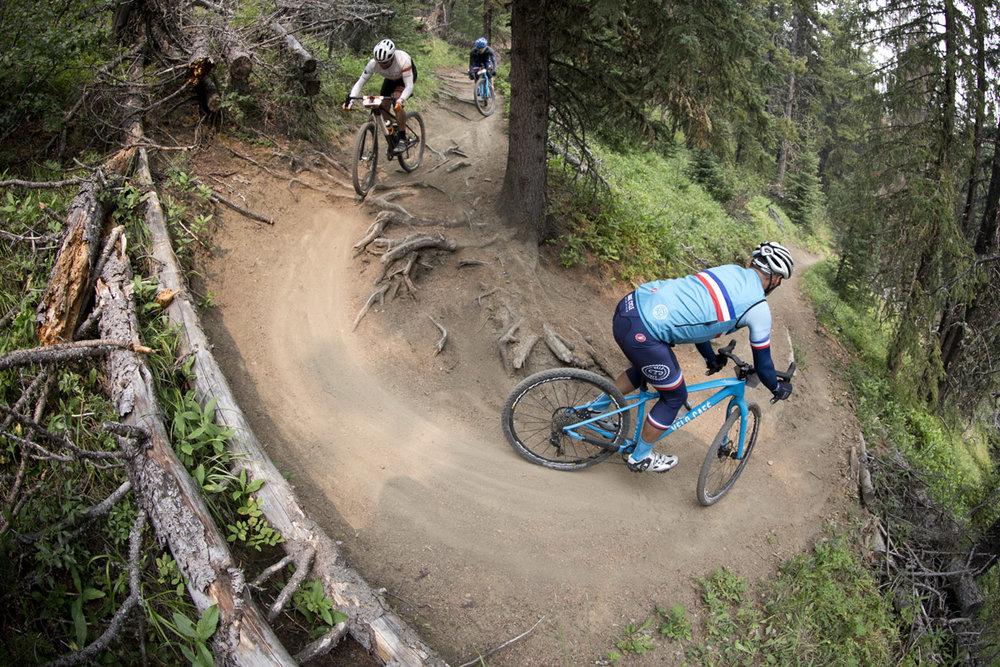 Gilles Brassart leads Bryce Meyer & Jason McKay Bragg Creek, Alberta