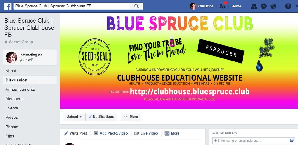 sprucer clubhouse fb page.JPG