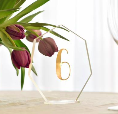 Acrylic Hexagon Table Number in Gold / #012 / $8
