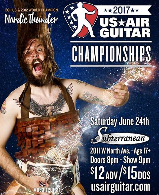 TONIGHT TONIGHT!!! Third Semifinal of the 2017 season takes place in CHICAGO!! June 24th | @subtchicago | 9pm  See you there!! . . . #chicago #thingstodoinchicago #airguitar #usairguitar #competition #americasfavoritepasttime
