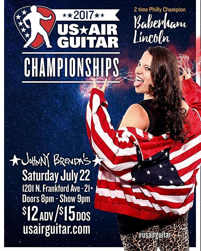 Just a few hours away, Philadelphia! . 7/22 | @johnnybrendas | 8pm . . . #philly #philadelphia #thingstodoinphilly #airguitar #competition #usairguitar #USA #americasfavoritepasttime