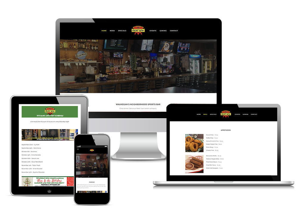 Pictures of how a responsive and mobile-friendly website looks on a desktop computer, iPad, laptop computer and mobile phone.