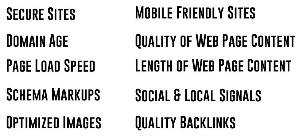 List of search ranking factors determined by Blue Corona: secure sites, domain age, page load speed, schema markups, optimized images, mobile friendly sites, quality and length of web page content, and quality backlinks.