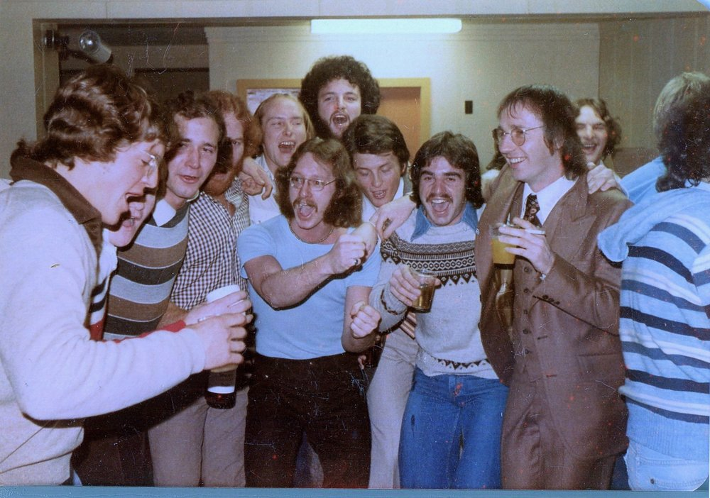 Ah those crazy kids. From left: Ello, Sculler's mouth, Righteous Ron, Art of the Red Hair, Ogre, Crusher (front), Moby (behind), Rob E, Dave S, Guppy (brown suit), Fergie (behind)