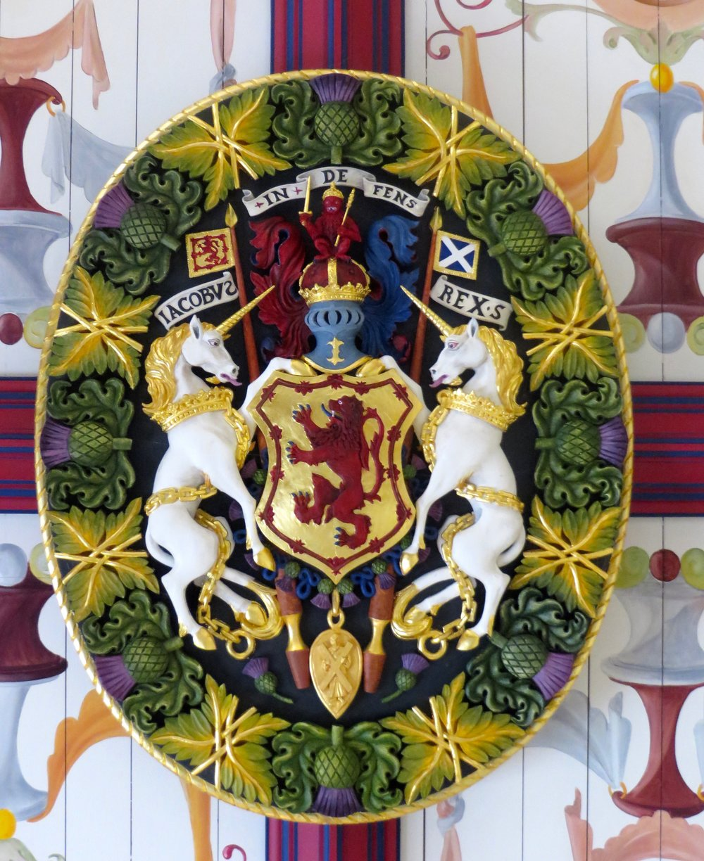 Unchained unicorns on the ceiling at Stirling Castle, Scotland