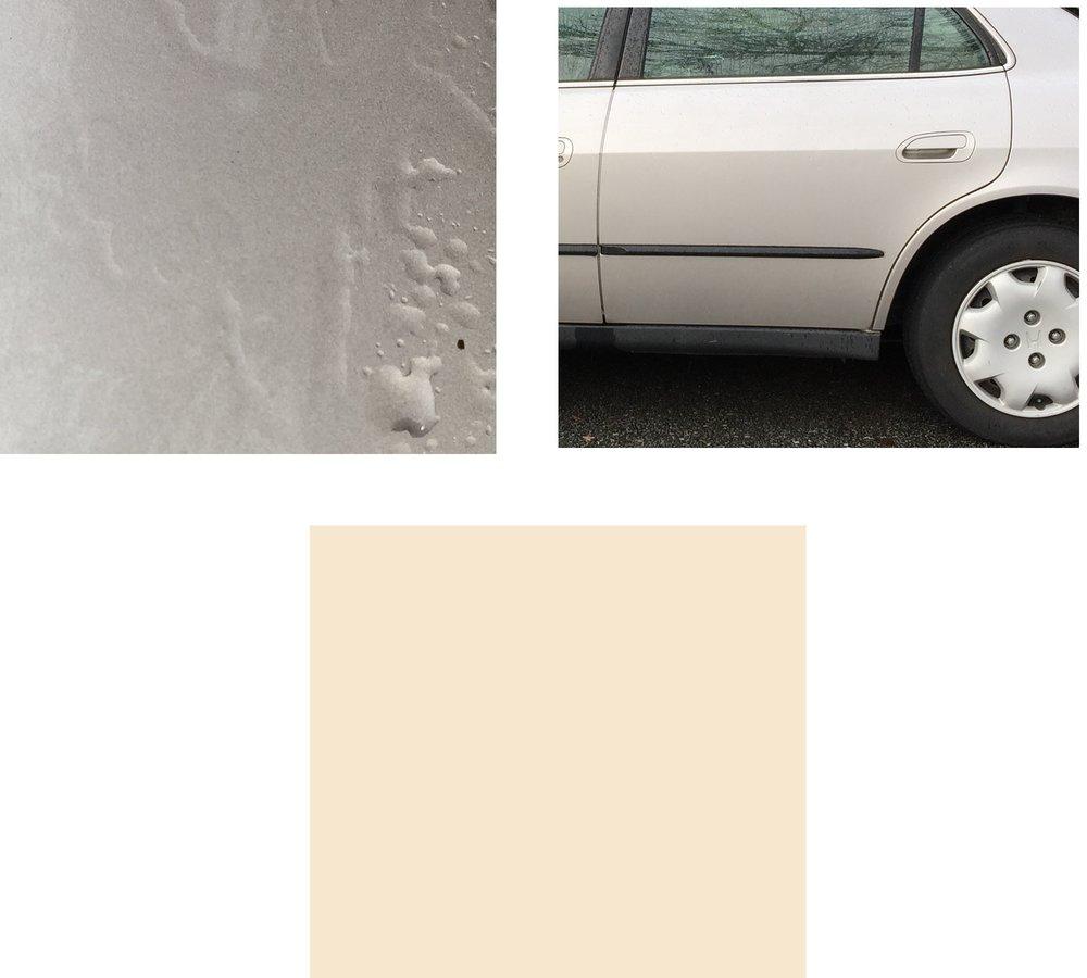 PJ's car (closeup), PJ's car (less closeup), champagne colour swatch