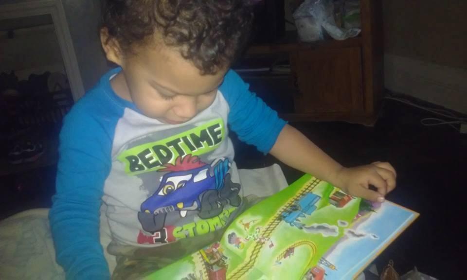 Bedtime t-shrt toddler boy Brown-Brown reads to self.jpg