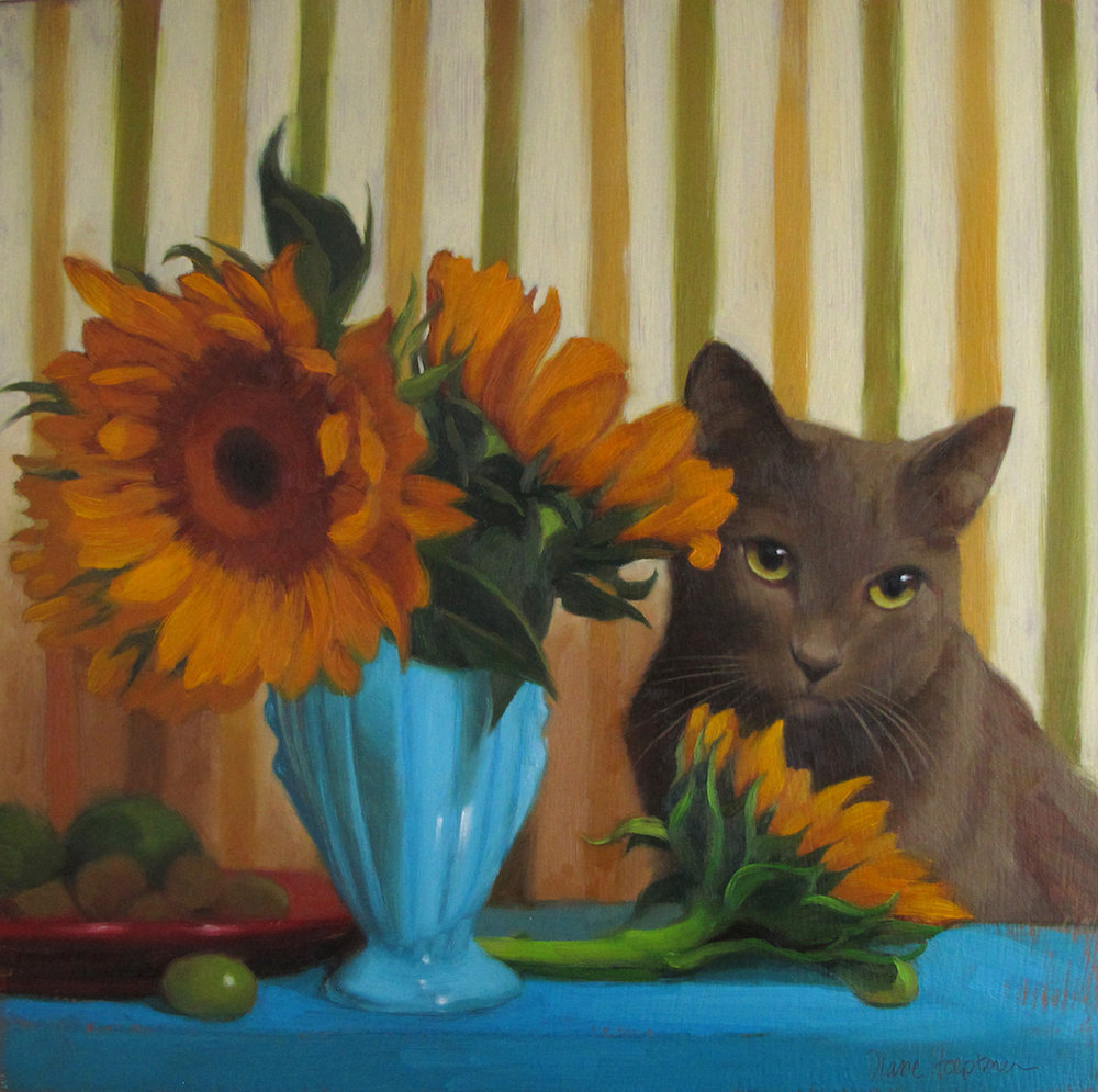 """Coco and Sunflowers"""