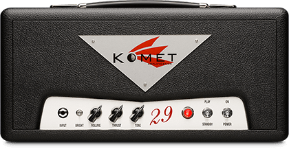 Komet 29   More Muscle - The Komet 29 picks up where the Komet 19 leaves off. Essentially the same tonal circuit and signature, but with four EL84/6BQ5 power tubes instead of two, and much bigger iron. Contained in the same small package as the Komet 19, the Komet 29 packs significantly more bottom end, higher headroom, and a larger sound stage. Also available in 3 different combo configurations.
