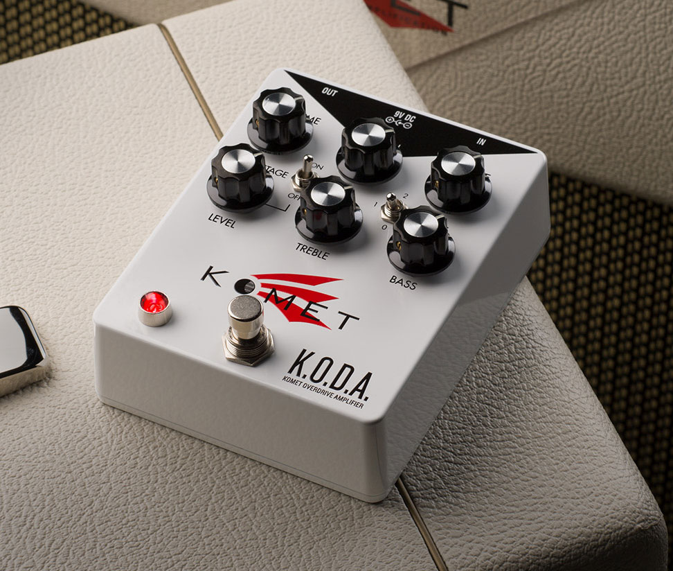 Komet K.O.D.A   K.O.D.A. is a remarkably tunable pedal that offers an exceptionally amp-like overdrive structure with amazing gain-staging flexibility in 3 different circuit positions.