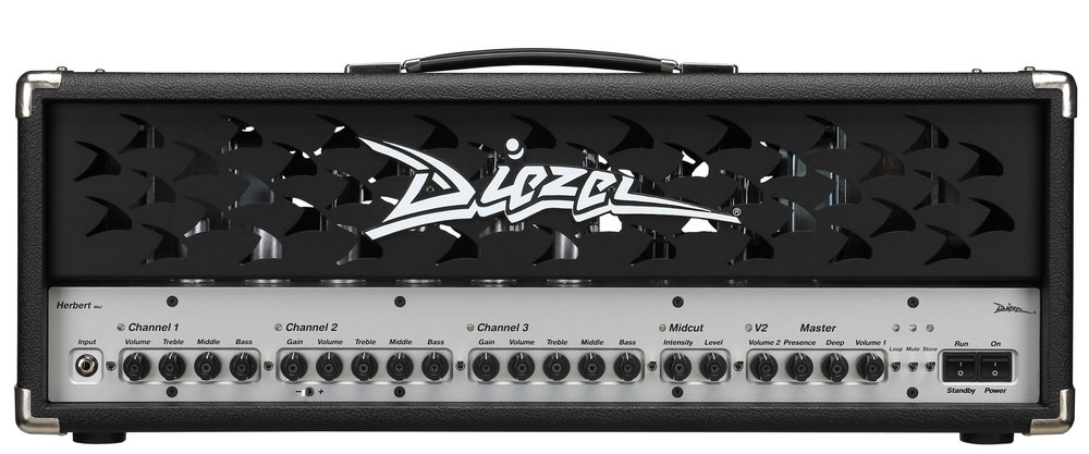 Diezel Herbert   Originated in the time of 7- and 8-string guitars, Herbert is more contemporary then ever. Built for ultra-tight bottom-end and percussive attack, perfect from country music to bone-crushing djent-riffs.
