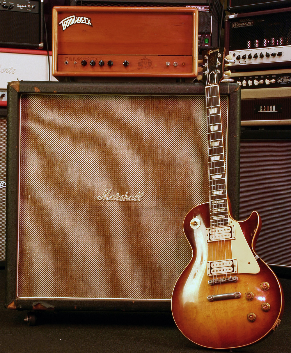 59 Burst, Trainwreck Express & 68 Marshall cab with Pulsonic cone Celestion G12M Greenbacks